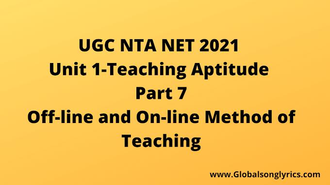 UGC NTA NET Exam 2021| Part-7 | Off-line and On-line Method of Teaching |