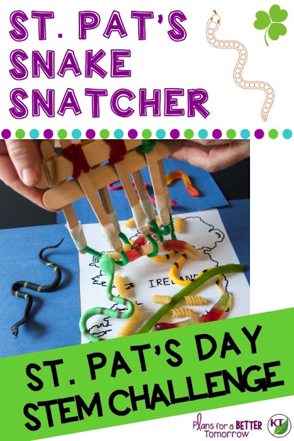 St. Patrick's Day STEM Challenge: St. Pat's Snake Snatcher, the students create a tool to remove the snakes from Ireland! Comes with modifications for grades 2-8.