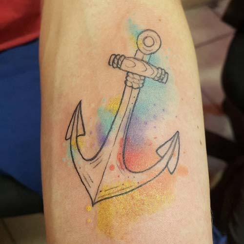 colorful anchor tattoo renkli çapa dövmesi