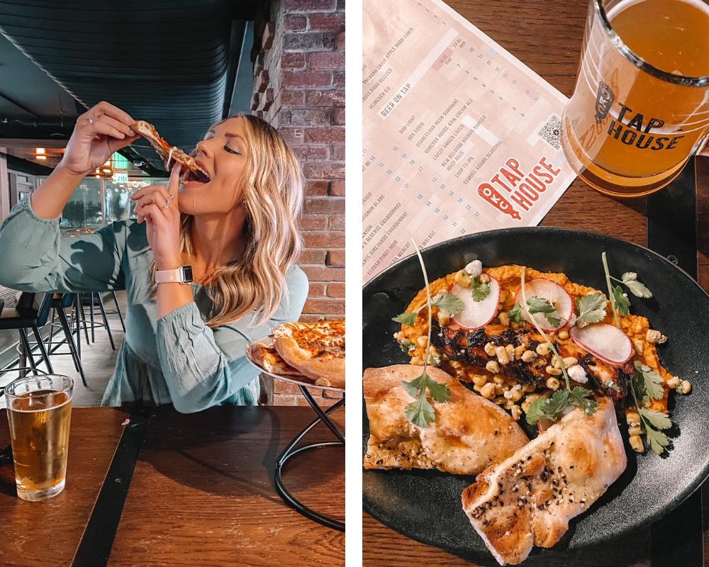 Amanda Martin of Amanda's OK Blog enjoys pizza and Octopus at the OKC Tap House, the Omni Oklahoma City's sports bar culinary concept