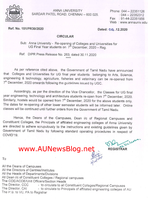 Anna University Affiliated Colleges Re-Open from 7th December 2020