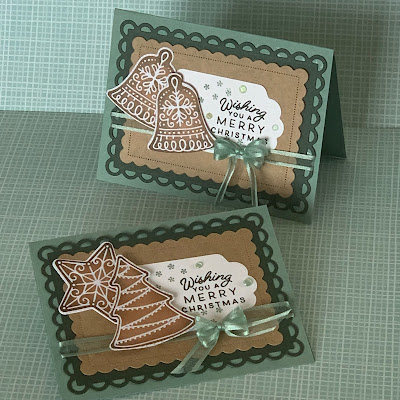 Two handmade Christmas Cards using Stampin' Up! Frosted Gingerbread Bundle