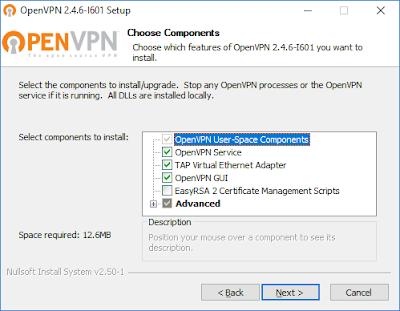 Установка OpenVPN - окно выбора компонентов