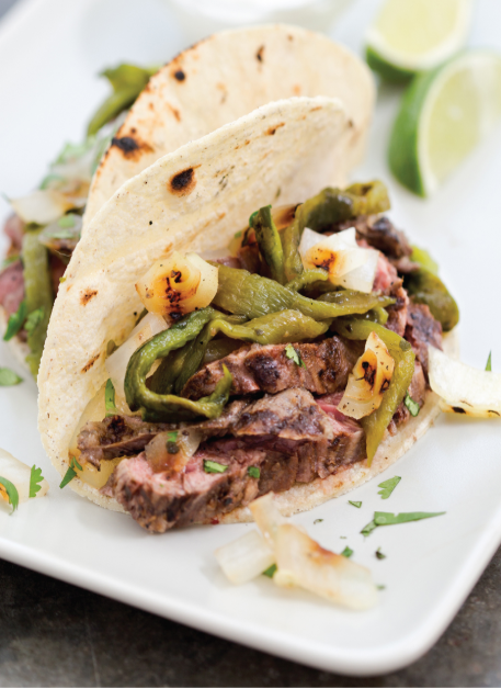 Grilled Skirt Steak and Poblano Tacos