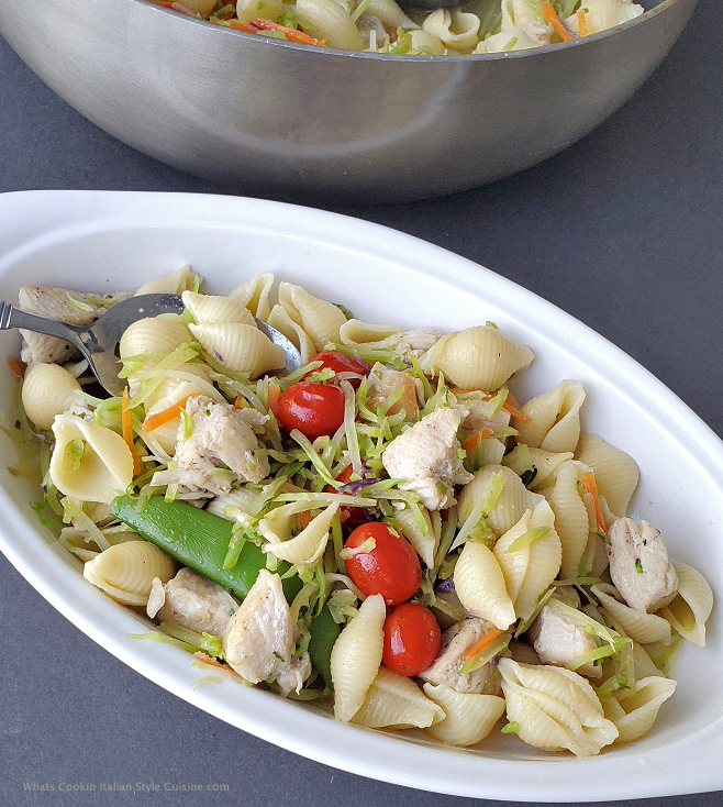 cold pasta salad Italian style in a white dish
