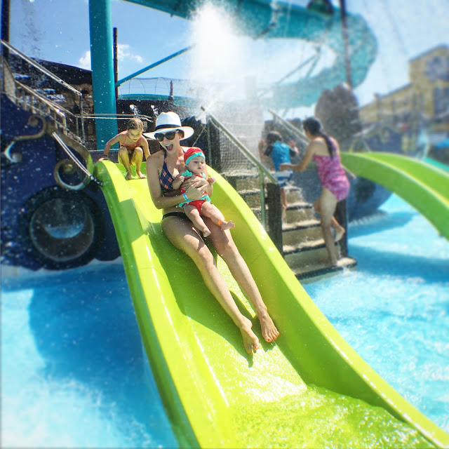 Amy West and daughters conquer the slides at Shipwreck Island Waterpark