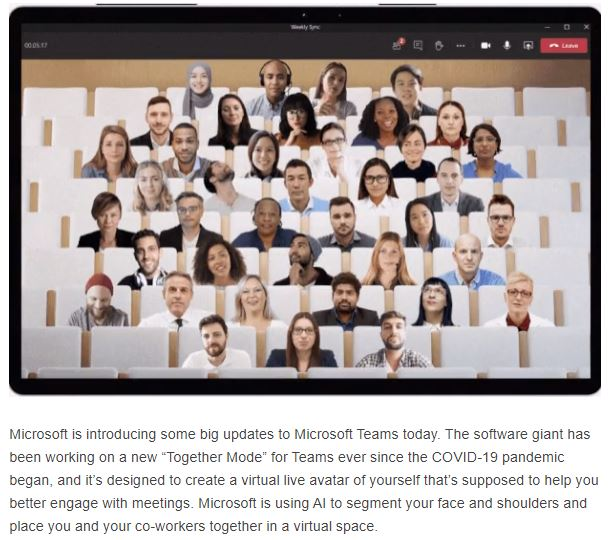 Microsoft Teams together mode dynamic view and new-features 2020.