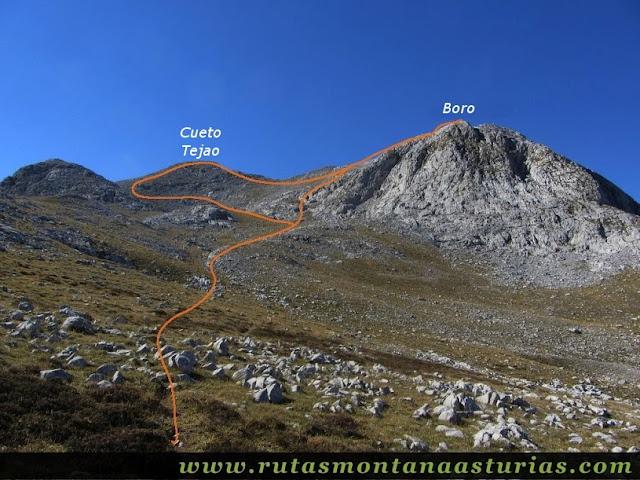 Ruta Jito Escarandi Cueto Tejao:  Vista del camino al Cueto Tejao y Boro