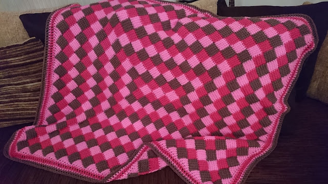 Entrelac Tunisian Crochet Baby Blanket Wool Yarn Knit Patchwork