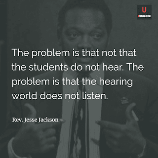 The problem is that not that the students do not hear. The problem is tha the hearing world does not listen