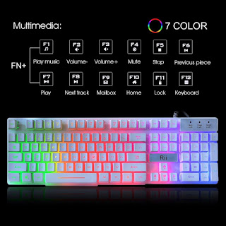 Rii RK100+ White Gaming Keyboard,USB Wired Multiple Colors Rainbow LED Backlit