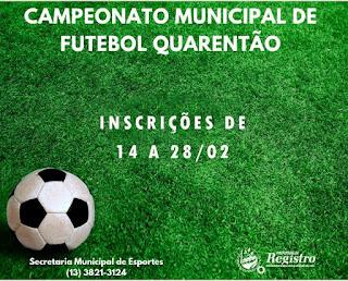 Abertas inscrições para o Campeonato Municipal de Futebol Quarentão em Registro-SP