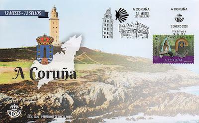 12 meses, 12 sellos, 12 provincias, matasellos, sello, sobre, filatelia, Coruña