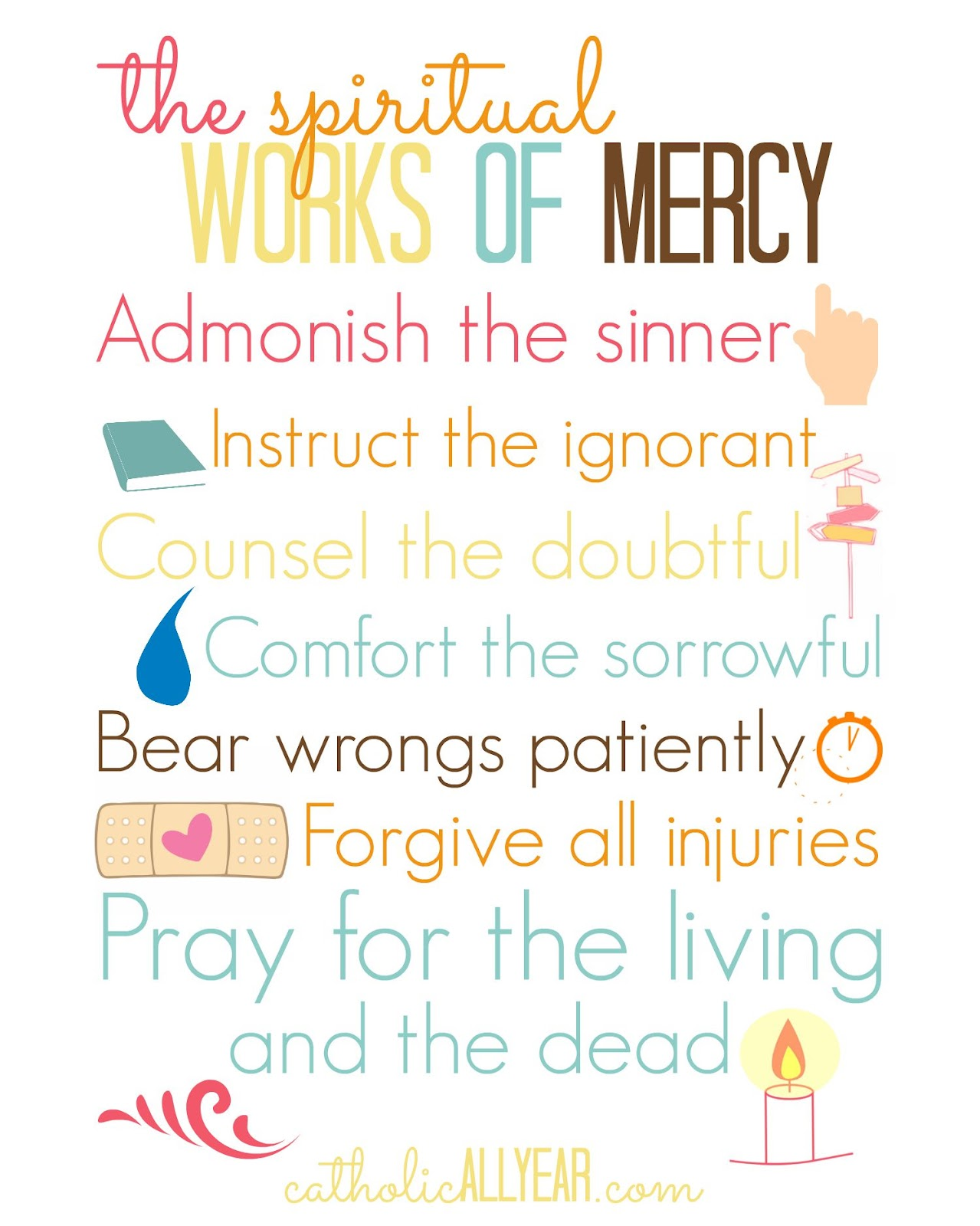 Catholic All Year The Year of Mercy Family Challenge – Corporal and Spiritual Works of Mercy Worksheet