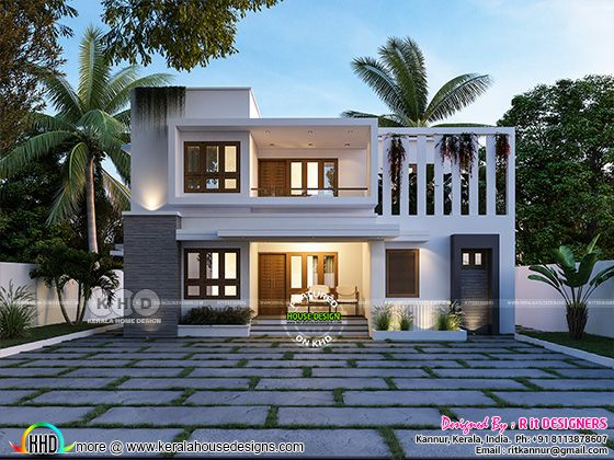 Cute modern contemporary house 3D rendering