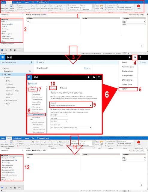 Microsoft Outlook: Cambiar el idioma de las carpetas especiales (Bandejas) - Buzón de correo de Microsoft Exchange.