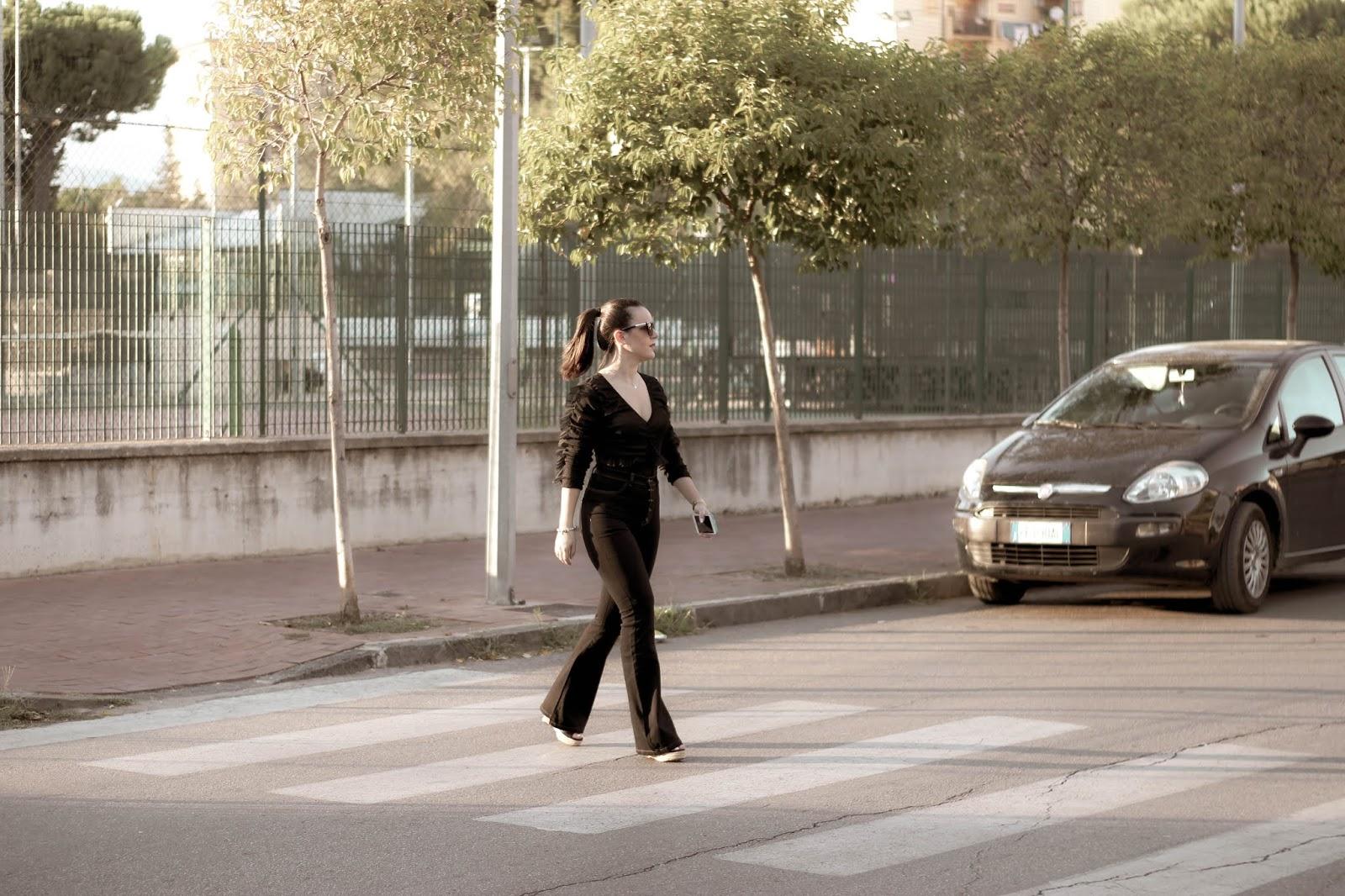 look autunnale nero blogger Salerno