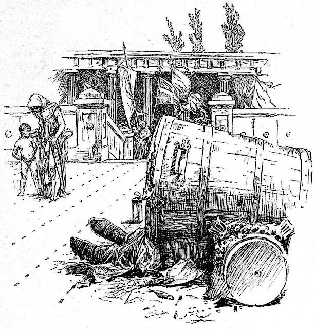 a Hans Tegner illustration of a man asleep in public trash