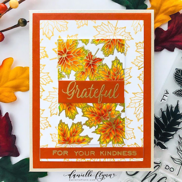 Sunny Studio Stamps: Elegant Leaves Customer Card by Danielle Flynn