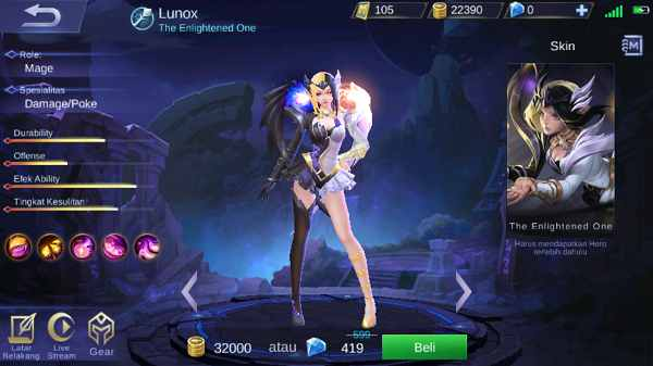 hero mage lunox mobile legend dengan build tersakit