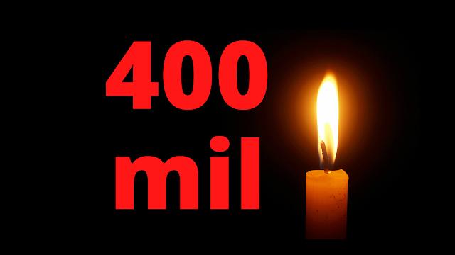 ilustração com número 400 e uma vela acesa