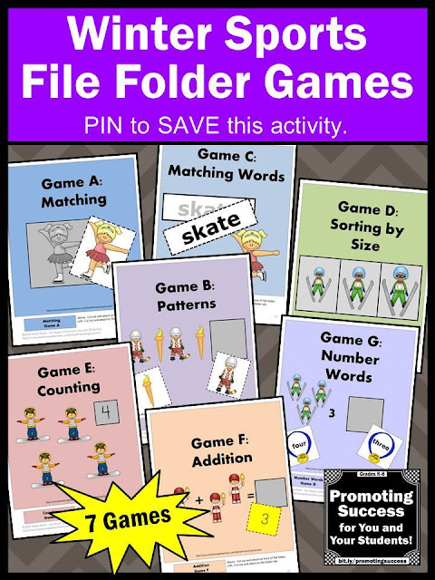 winter Olympics sports file folder games printable for kids autism