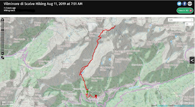 The hike route in the Val di Gleno.