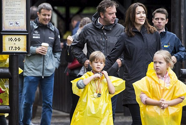Crown Prince Frederik, Crown Princess Mary, Prince Christian, Princess Isabella, Prince Vincent and Princess Josephine visited Legoland. Style royal princess mary wore dress