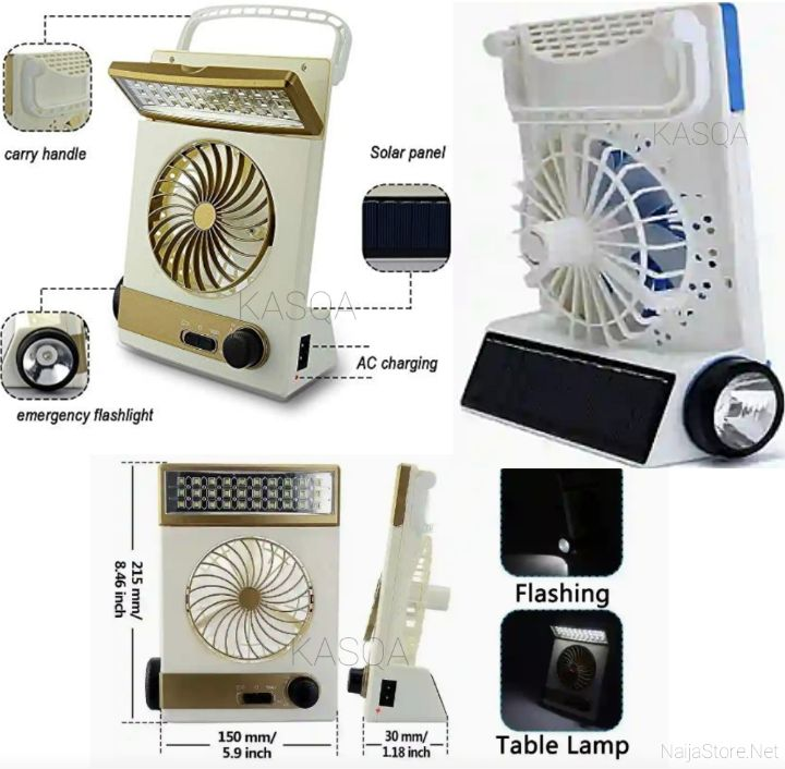 Kasqa Solar-Powered Fan with Night Lights - Mini Tabletop Cooling Gadget with LED Lamp and Flashlight