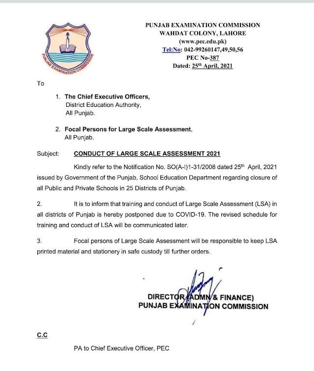 POSTPONEMENT OF LARGE SCALE ASSESSMENT IN PUBLIC SCHOOLS