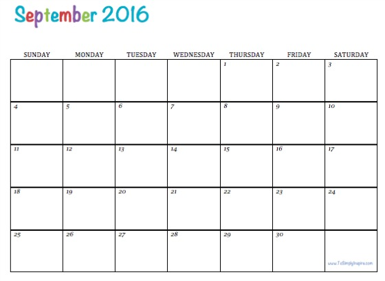 September 2016 Printable Calendar, September 2016 Calendar PDF, September 2016 Calendar Excel, September 2016 Calendar Word