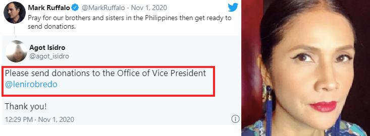 Agot Isidro, sinabihan na sa Office of the Vice President, Leni Robredo ibigay ang donasyon ng isang international star