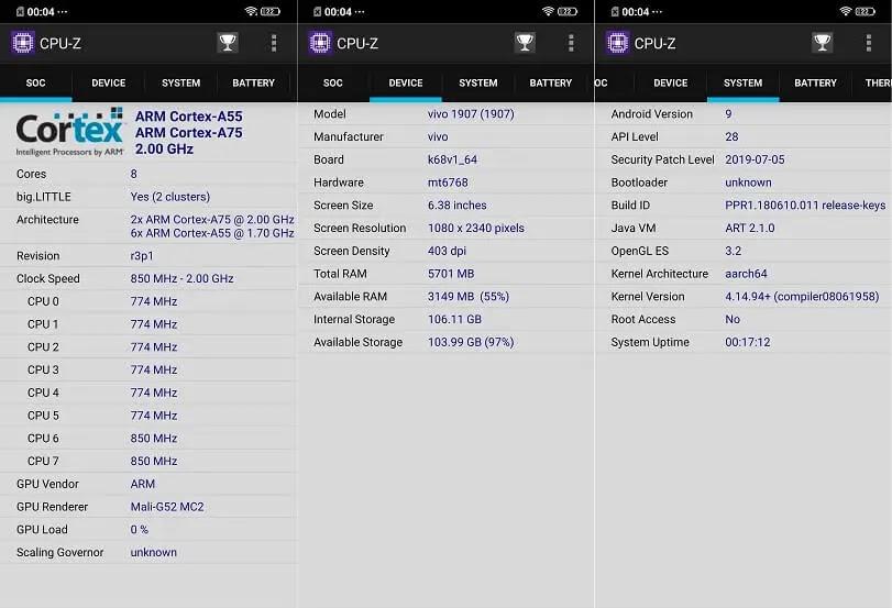 Vivo S1 CPU-Z Info