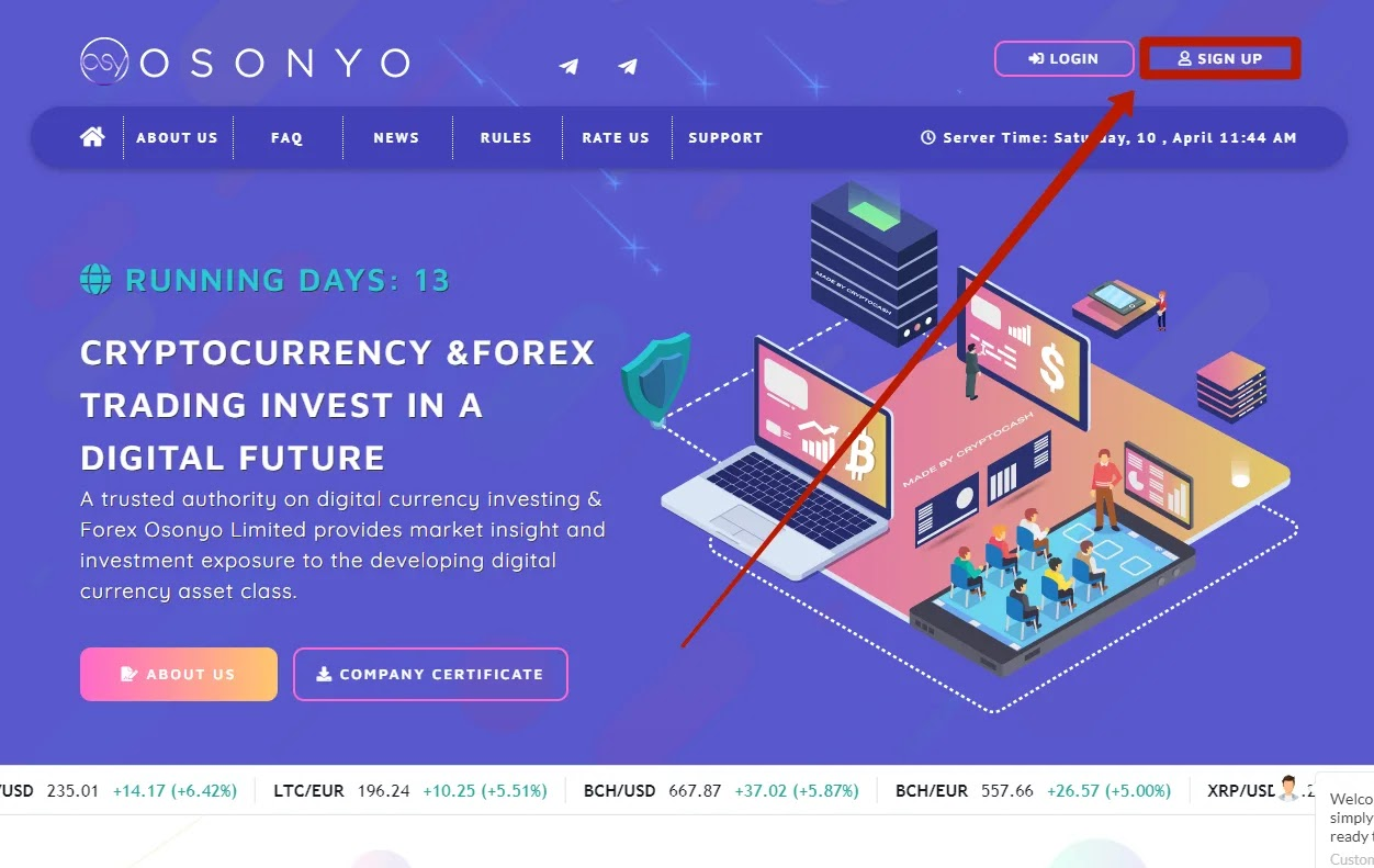Регистрация в Osonyo Trade