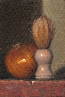 Still life oil painting of a shaving brush beside an onion.