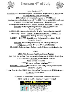 flyer listing fourth of july festivities in the town of Bronson, Iowa