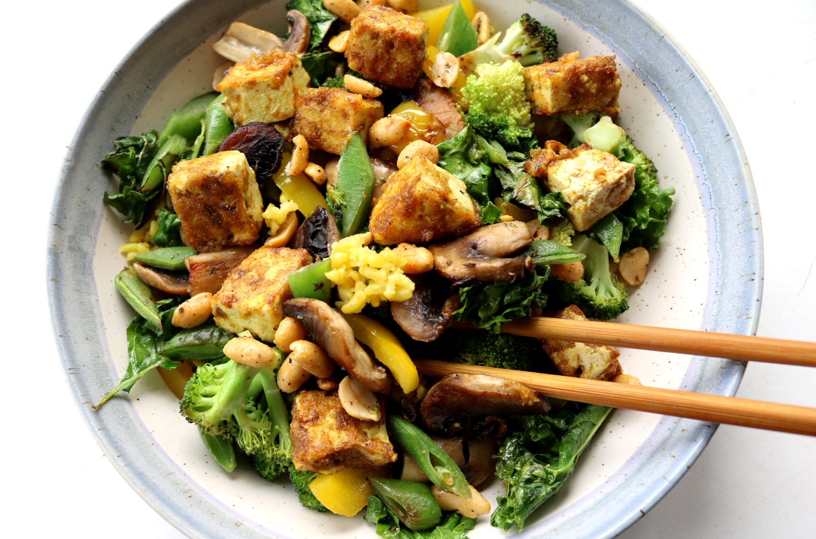 Crispy Tofu & Mixed Veg Rice Bowl (Vegan recipe)