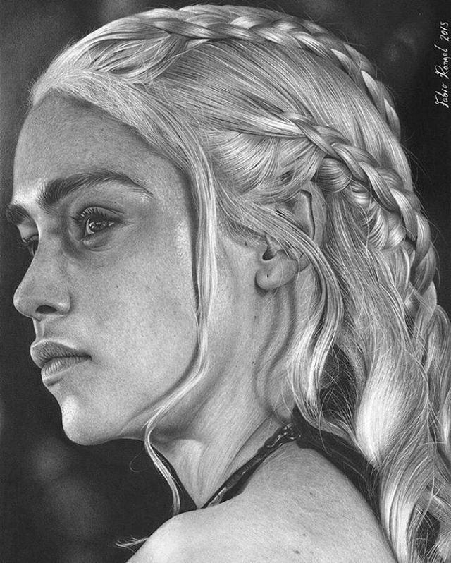 05-Emilia-Clarke-Daenerys-Game-of-Thrones-Fabio-Rangel-Drawings-of-Protagonists-from-TV-and-Movies-www-designstack-co
