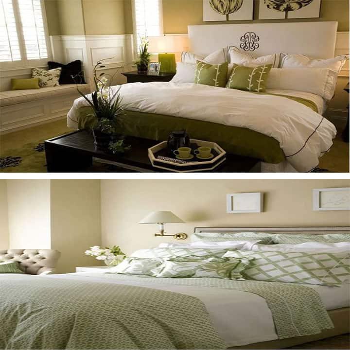 غرفة نوم باللون الأخضر والكريمي
