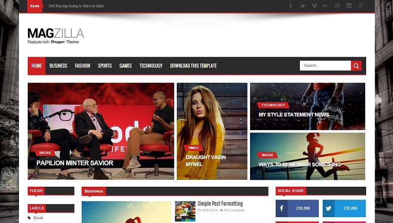 Mag Zilla is a hitting Magazine blogger theme boasting a diverseness of robust features too  Download - Mag Zilla - Responsive Magazine Blogger Template