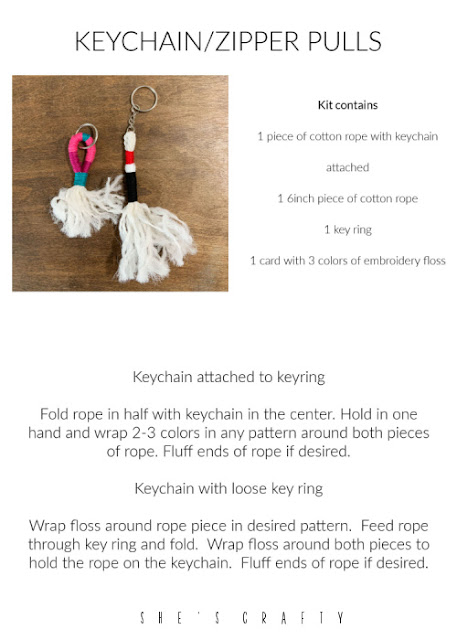 YW camp craft instructions for making floss wrapped keychains.