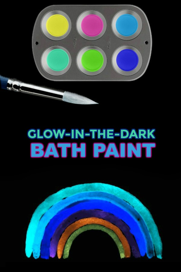 How to make glow-in-the-dark bath paint. SO COOL! #bathpaintforkidsdiy #paintingideas #paintrecipe #paintrecipeshomemade #craftsforkids