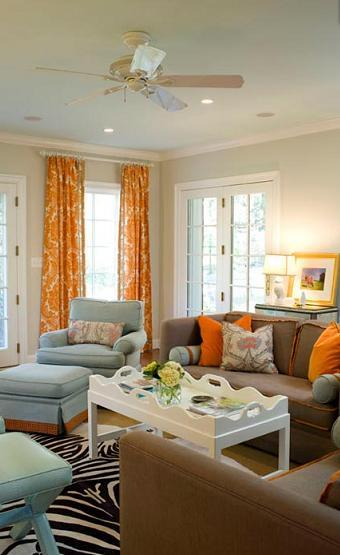 Elle Decor Living Rooms: Jodie Carter Design: Complimentary Orange & Blue