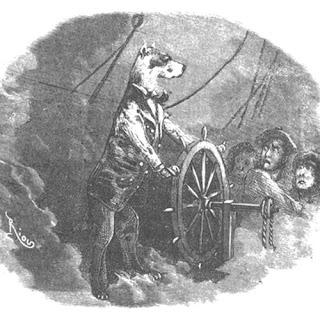 Ilustración de Duck apoyado en el timón. Autor: Édouard Riou