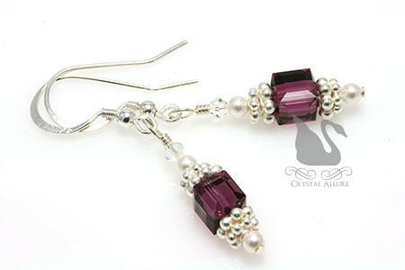 Crystal Purple Cystic Fibrosis Awareness Earrings (E246)