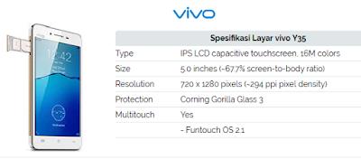 Harga dan Spesifikasi vivo Y35 - Dalam Postingan ini akan membahas tentang harga dan spesifikasi vivo y35 specification, vivo y35 price, kelebihan dan kekurangan vivo y35, vivo y35 review, harga vivo y53, vivo y35 bekas, vivo y35 4g, spesifikasi vivo y51