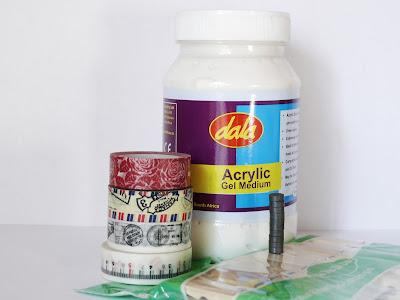 Materials, Clothespins Magnets, DIY, Craft, Gel Medium, Washi Tape