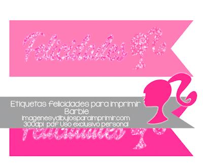 Etiquetas de barbie Felicidades para imprimir