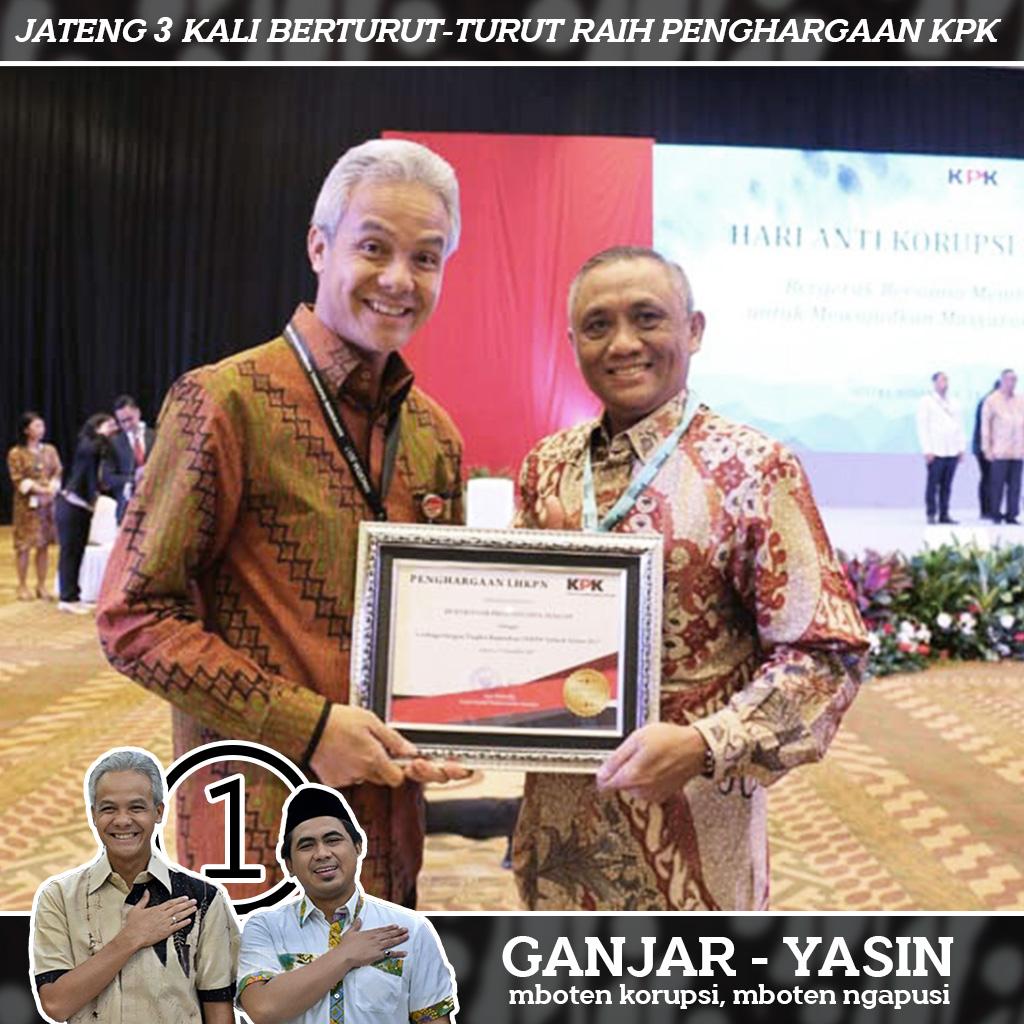 Selamat, Gubernur Ganjar Terima Penghargaan dari KPK