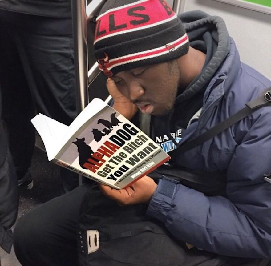 17 Hilarious Pictures Of People Reading All The Wrong Books In Public - Learning How To Be An Alpha Dog Is Exhausting